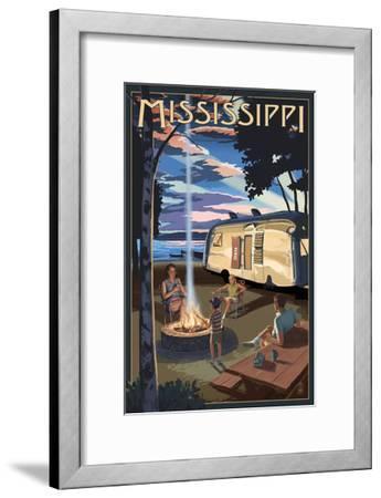 Mississippi - Retro Camper and Lake-Lantern Press-Framed Art Print