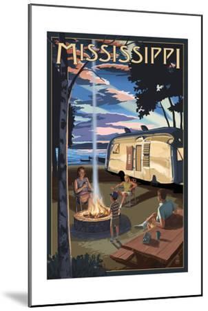 Mississippi - Retro Camper and Lake-Lantern Press-Mounted Art Print
