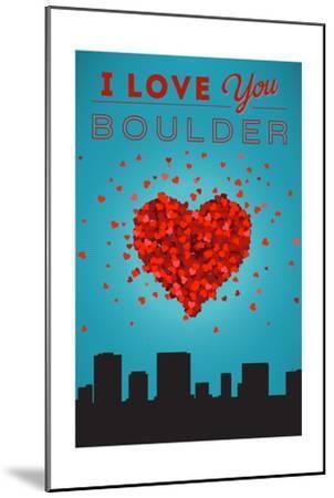 I Love You Boulder, Colorado-Lantern Press-Mounted Art Print