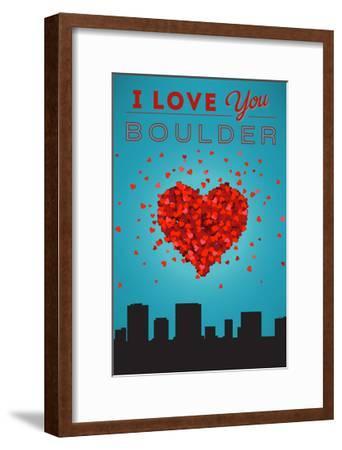 I Love You Boulder, Colorado-Lantern Press-Framed Art Print