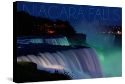 Niagara Falls - Falls and Green Lights at Night-Lantern Press-Stretched Canvas Print