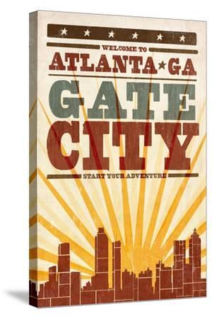 Atlanta, Georgia - Skyline and Sunburst Screenprint Style-Lantern Press-Stretched Canvas Print