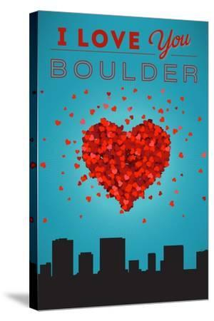 I Love You Boulder, Colorado-Lantern Press-Stretched Canvas Print
