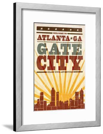 Atlanta, Georgia - Skyline and Sunburst Screenprint Style-Lantern Press-Framed Art Print