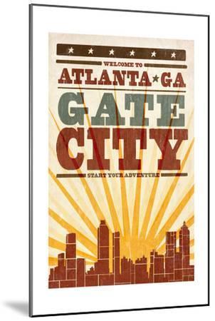 Atlanta, Georgia - Skyline and Sunburst Screenprint Style-Lantern Press-Mounted Art Print