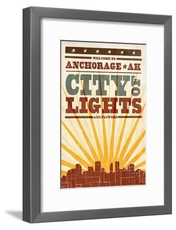 Anchorage, Alaska - Skyline and Sunburst Screenprint Style-Lantern Press-Framed Art Print