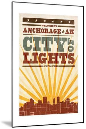 Anchorage, Alaska - Skyline and Sunburst Screenprint Style-Lantern Press-Mounted Art Print