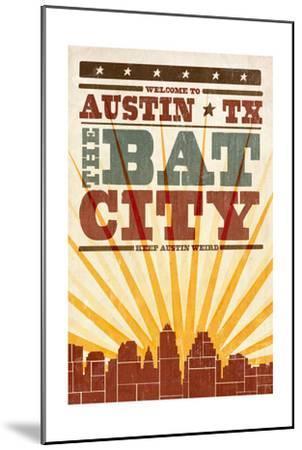 Austin, Texas - Skyline and Sunburst Screenprint Style-Lantern Press-Mounted Art Print