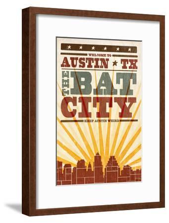 Austin, Texas - Skyline and Sunburst Screenprint Style-Lantern Press-Framed Art Print