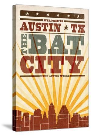 Austin, Texas - Skyline and Sunburst Screenprint Style-Lantern Press-Stretched Canvas Print