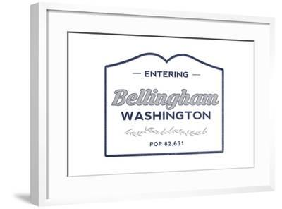 Bellingham, Washington - Now Entering (Blue)-Lantern Press-Framed Art Print