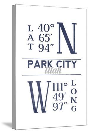 Park City, Utah - Latitude and Longitude (Blue)-Lantern Press-Stretched Canvas Print