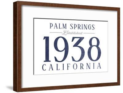Palm Springs, California - Established Date (Blue)-Lantern Press-Framed Art Print