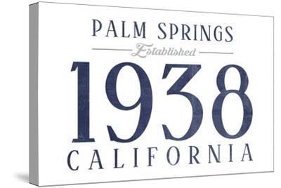 Palm Springs, California - Established Date (Blue)-Lantern Press-Stretched Canvas Print