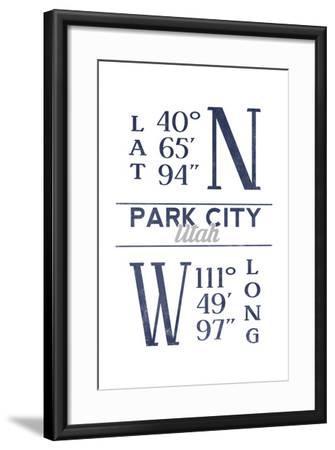 Park City, Utah - Latitude and Longitude (Blue)-Lantern Press-Framed Art Print