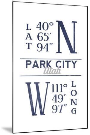 Park City, Utah - Latitude and Longitude (Blue)-Lantern Press-Mounted Art Print