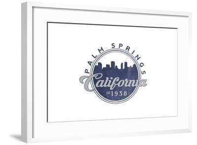 Palm Springs, California - Skyline Seal (Blue)-Lantern Press-Framed Art Print