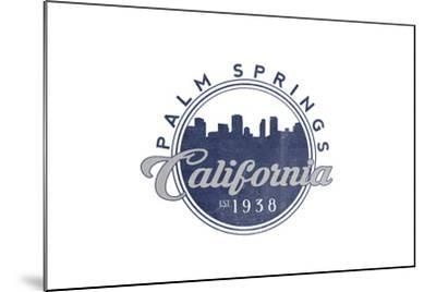 Palm Springs, California - Skyline Seal (Blue)-Lantern Press-Mounted Art Print