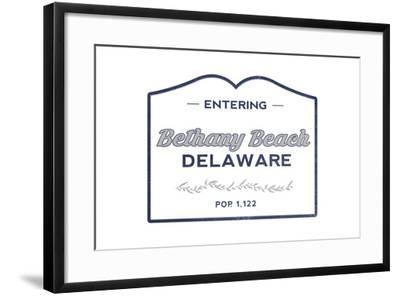 Bethany Beach, Delaware - Now Entering (Blue)-Lantern Press-Framed Art Print