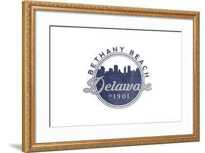 Bethany Beach, Delaware - Skyline Seal (Blue)-Lantern Press-Framed Art Print