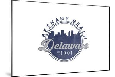 Bethany Beach, Delaware - Skyline Seal (Blue)-Lantern Press-Mounted Art Print