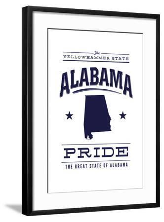 Alabama State Pride - Blue on White-Lantern Press-Framed Art Print