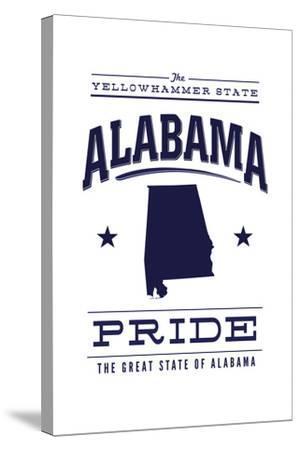 Alabama State Pride - Blue on White-Lantern Press-Stretched Canvas Print