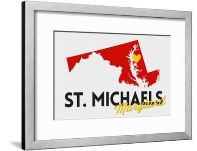 St. Michaels, Maryland - Red and Black - State Outline and Heart-Lantern Press-Framed Art Print