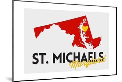 St. Michaels, Maryland - Red and Black - State Outline and Heart-Lantern Press-Mounted Art Print