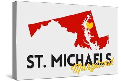 St. Michaels, Maryland - Red and Black - State Outline and Heart-Lantern Press-Stretched Canvas Print
