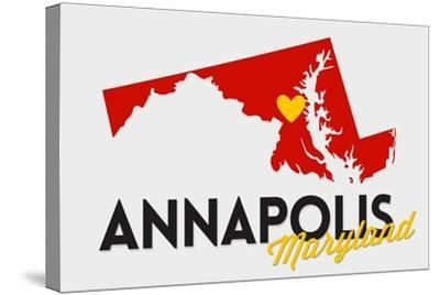 Annapolis, Maryland - Red and Black - State Outline and Heart-Lantern Press-Stretched Canvas Print