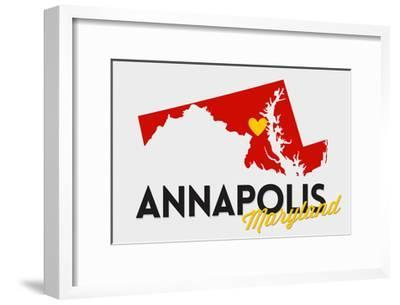 Annapolis, Maryland - Red and Black - State Outline and Heart-Lantern Press-Framed Art Print