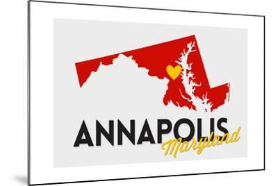Annapolis, Maryland - Red and Black - State Outline and Heart-Lantern Press-Mounted Art Print