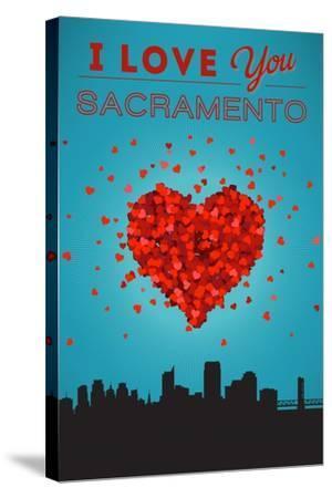 I Love You Sacramento, California-Lantern Press-Stretched Canvas Print