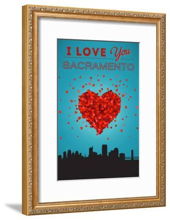 I Love You Sacramento, California-Lantern Press-Framed Art Print
