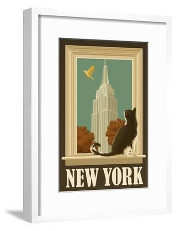 New York, New York - Empire State Buildin and Cat Window-Lantern Press-Framed Art Print