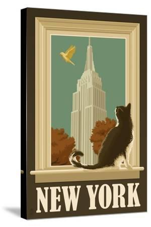 New York, New York - Empire State Buildin and Cat Window-Lantern Press-Stretched Canvas Print