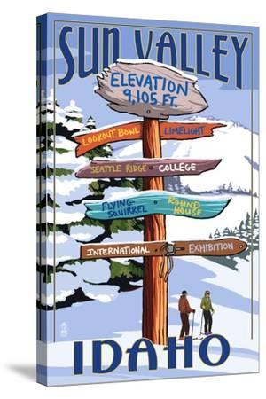 Sun Valley, Idaho - Destination Signpost (Winter)-Lantern Press-Stretched Canvas Print