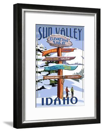 Sun Valley, Idaho - Destination Signpost (Winter)-Lantern Press-Framed Art Print