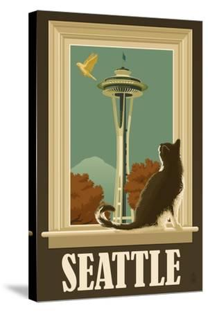 Seattle, Washington - Space Needle and Cat Window-Lantern Press-Stretched Canvas Print