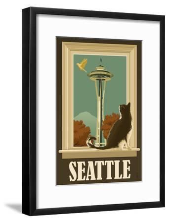Seattle, Washington - Space Needle and Cat Window-Lantern Press-Framed Art Print