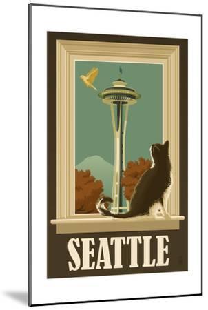 Seattle, Washington - Space Needle and Cat Window-Lantern Press-Mounted Art Print