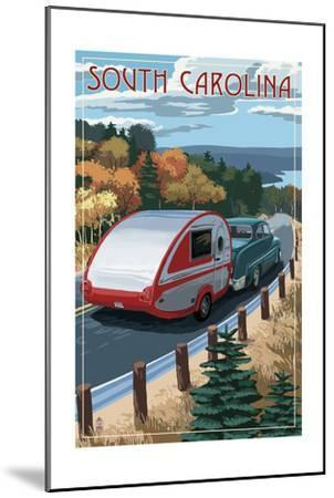 South Carolina - Retro Camper on Road-Lantern Press-Mounted Art Print