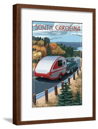 South Carolina - Retro Camper on Road-Lantern Press-Framed Art Print