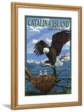 Catalina Island, California - Bald Eagle and Chicks-Lantern Press-Framed Art Print