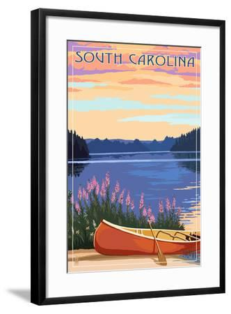 South Carolina - Canoe and Lake-Lantern Press-Framed Art Print
