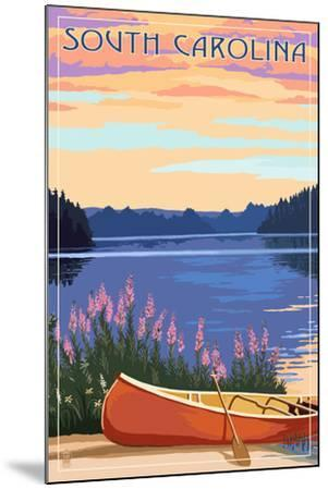 South Carolina - Canoe and Lake-Lantern Press-Mounted Art Print