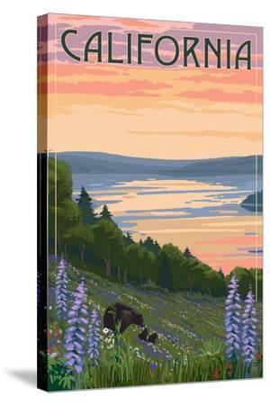 California - Lake and Bear Family-Lantern Press-Stretched Canvas Print