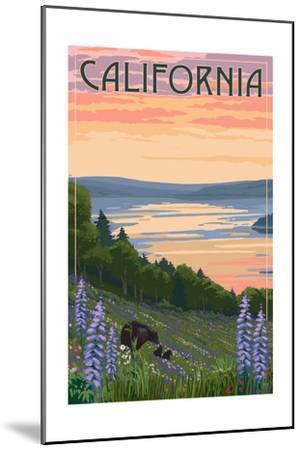 California - Lake and Bear Family-Lantern Press-Mounted Art Print