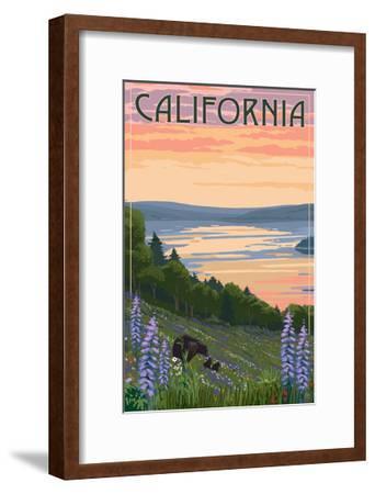 California - Lake and Bear Family-Lantern Press-Framed Art Print